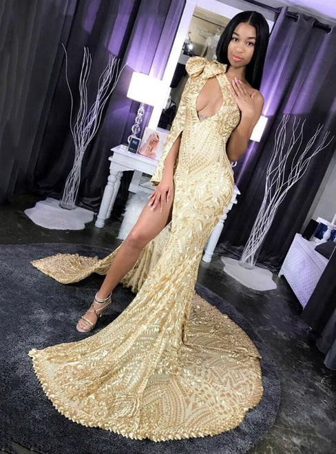 Gold Mermaid Sequins One Shoulder Prom Dress With Side Split 2020