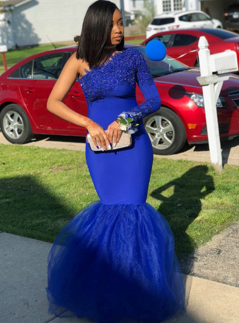 Royal Blue Mermaid Satin Tulle One Shoulder Long Sleeve Appliques Prom Dress 2020