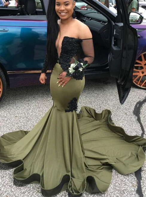 Green Mermaid Satin Off the Shoulder Long Sleeve Prom Dress 2020