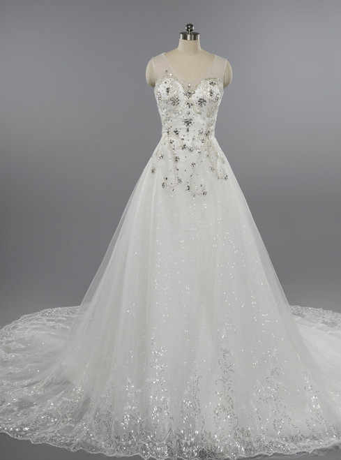 Luxury Dubai Wedding Dress 2017 A-line Lace Applique Sequined Wedding Dress
