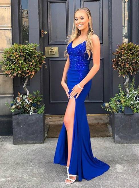 Royal Blue Mermaid Satin V-neck Appliques Beading Prom Dress 2020
