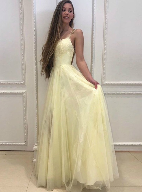 A-Line Yellow Tulle Spaghetti Straps Appliques Prom Dress 2020