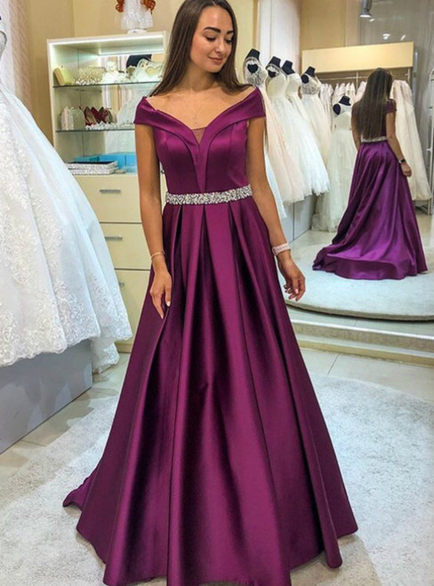 A-Line Purple Satin Off the Shoulder Beading Prom Dress 2020