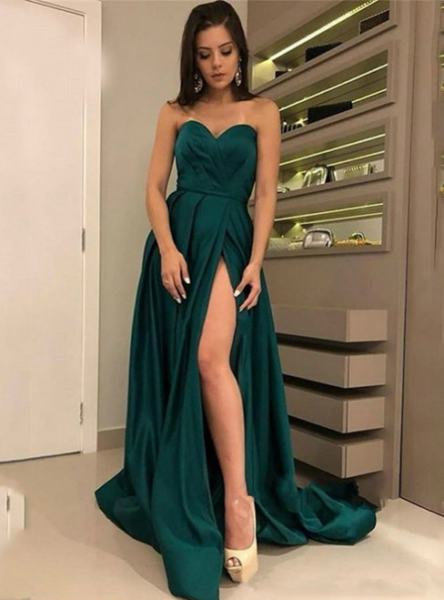 A-Line Green Satin Sweethear Pleats Prom Dress With Side Silit 2020