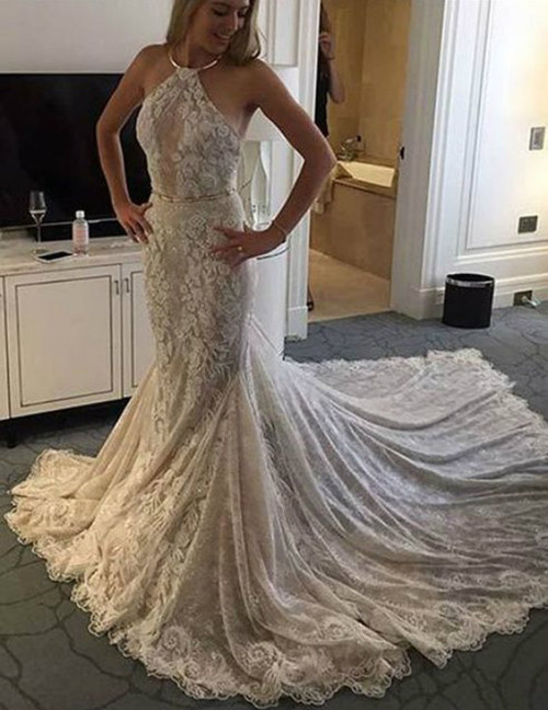 Princess Elegant White Lace Mermaid Wedding Dresses
