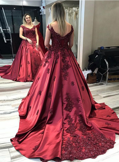 Burgundy Ball Gown Satin Off the Shoulder Appliques Beading Prom Dress 2020