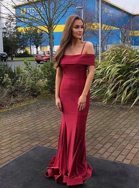 Burgundy Mermaid Satin Spaghetti Straps Prom Dress 2020