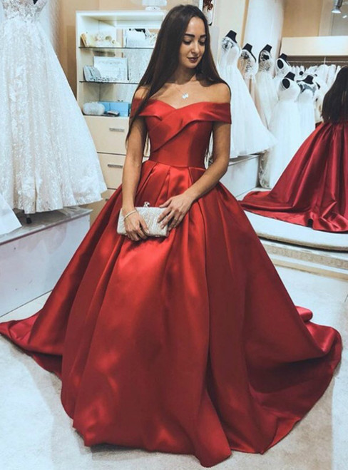 Red Ball Gown Satin Off the Shoulder Prom Dress 2020