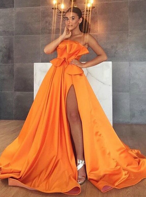 Orange Satin Strapless Women Formal Dresses With Side Split 2020