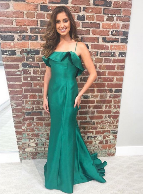 Green Mermaid Satin Spaghetti Straps Ruffles Prom Dress 2020