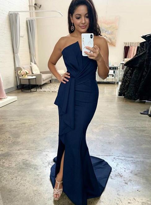 Navy Blue Mermaid Strapless Pleats Long Prom Dress 2020