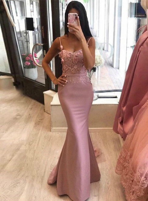 Pink Mermaid Spaghetti Straps Appliques Prom Dress 2020