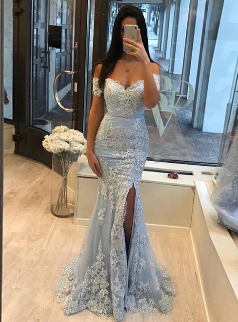 Light Blue Mermaid Tulle Appliques Off the Shoulder Prom Dress 2020