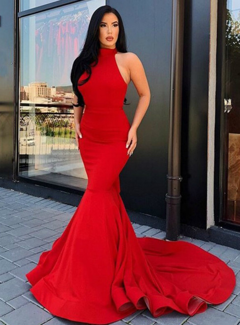Red Mermaid Satin Halter Backless Long Prom Dress 2020
