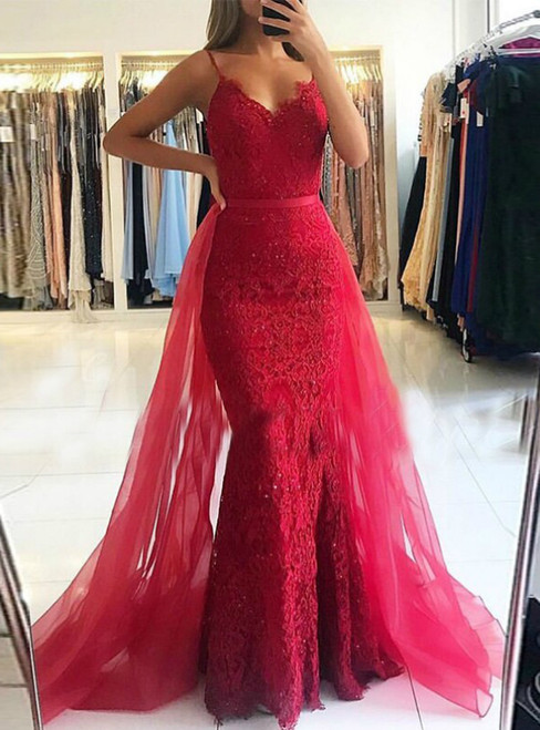 Red Mermaid Tulle Appliques Spagehtti Straps Beading Prom Dress 2020