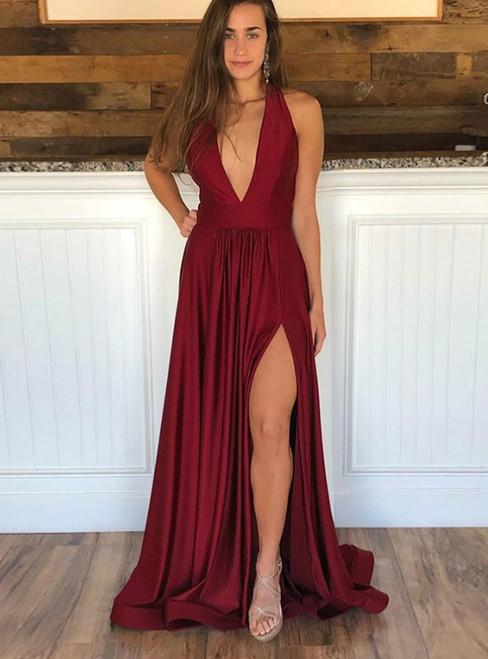 A-Line Burgundy Deep V-neck Backless Prom Dress With Side Split 2020