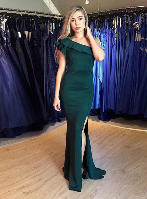Green Mermaid Satin One Shoulder Prom Dress With Side Split 2020