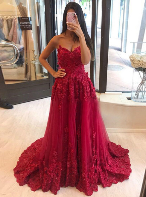 Burgundy Tulle Sweetheart Appliques Long Prom Dress 2020