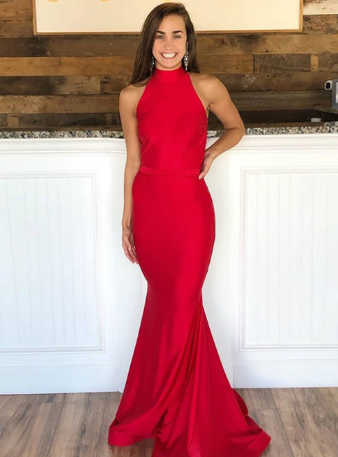 Red Mermaid Satin Halter Backless Sleeveless Prom Dress 2020
