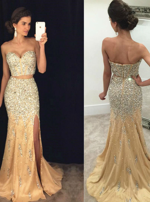 Sweetheart Two-Piece Mermaid Evening Dress with Crystals and Side Slit