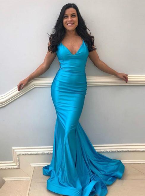 Blue Mermaid V-neck Satin Backless Pleats Prom Dress 2020