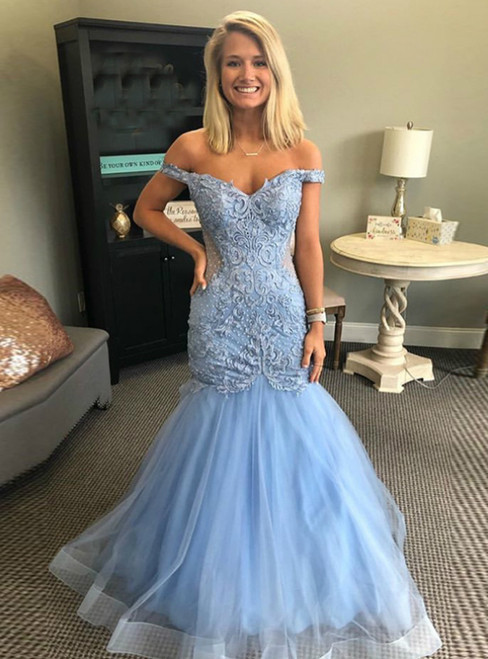 Light Blue Mermaid Tulle Off the Shoulder Appliques Prom Dress 2020