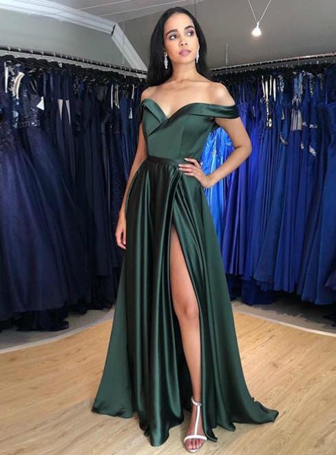 Dark Green Satin Off the Shoulder Prom Dress With Side Split 2020
