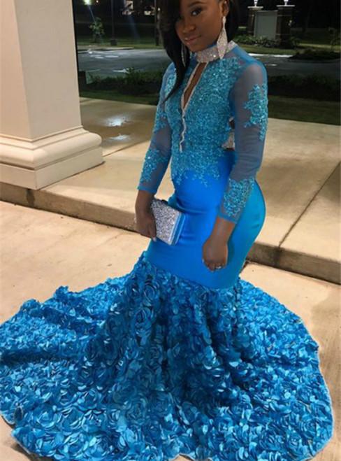 Blue Mermaid Flower Long Sleeve Backless Appliques Prom Dress 2020
