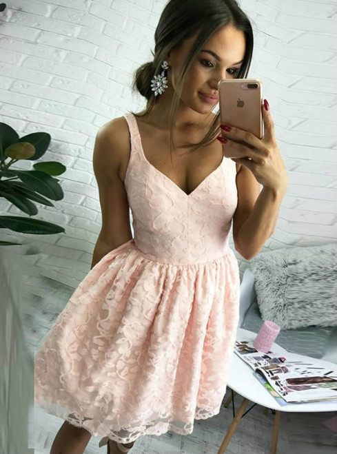 Cheap Lace Homecoming Dresses Short Pink Homecoming Dresses Chiffon Party Dresses