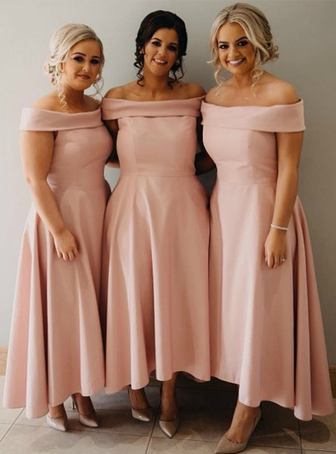 A-Line Pink Satin Hi Lo Off the Shoulder Bridesmaid Dress 2020