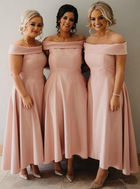 A-Line Pink Satin Hi Lo Off the Shoulder Bridesmaid Dress 2020