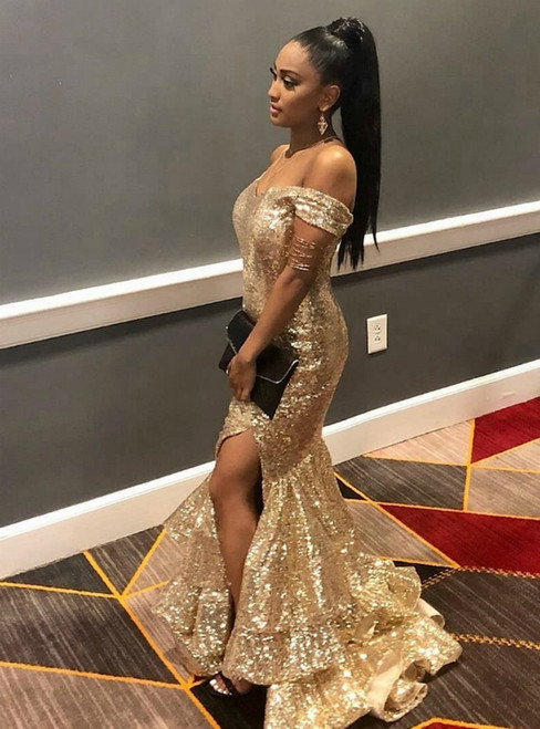 Sexy Gold Mermaid Sequins Off the Shoulder Long Prom Dress 2020