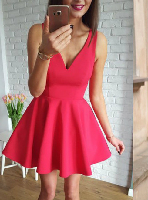 Backless Homecoming Dresses  Open Back Homecoming Dresses Simply Short Red