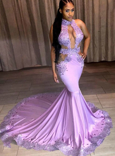 Purple Mermaid Satin Cut Out Appliques Beading Prom Dress 2020