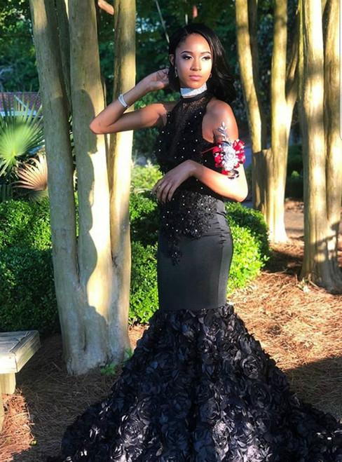 Black Mermaid Flower Appliques Sleeveless Prom Dress 2020