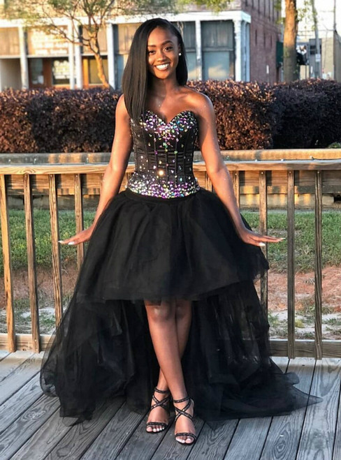 Black Ball Gown Tulle Sweetheart Hi Lo Crystal Prom Dress 2020