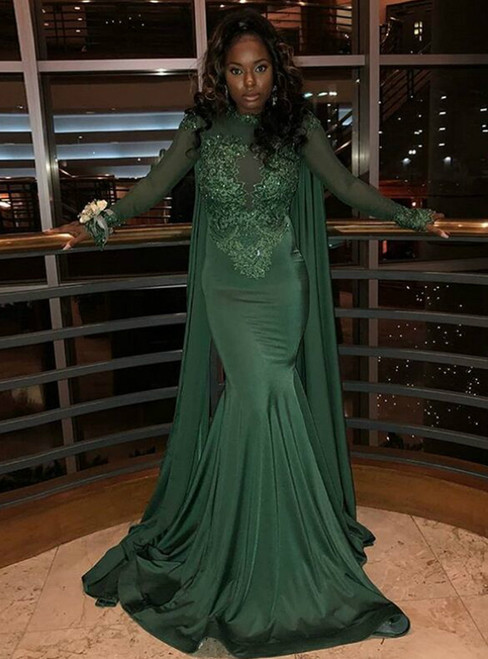 Green Mermaid Satin Long Sleeve Appliques Beading Prom Dress 2020