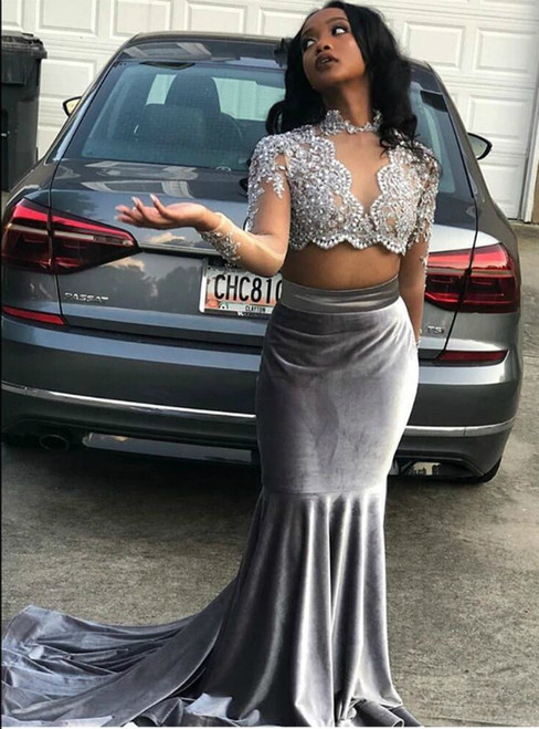 Silver Gray Mermaid Velvet Long Sleeve Two Piece Appliques Beading Prom Dress 2020