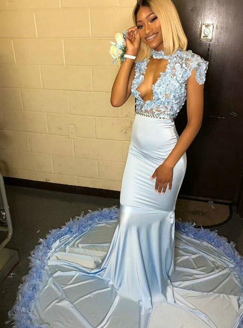 Light Blue Mermaid Satin Cap Sleeve 3D Flower Prom Dress 2020