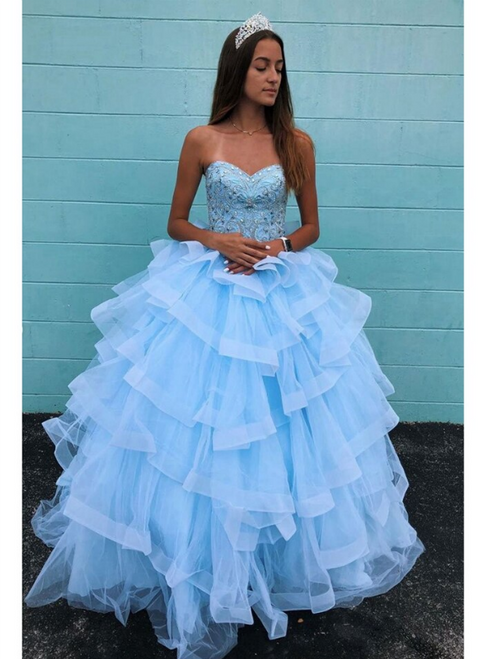 Blue Ball Gown Tulle Sweetheart Beading Crystal Prom Dress 2020