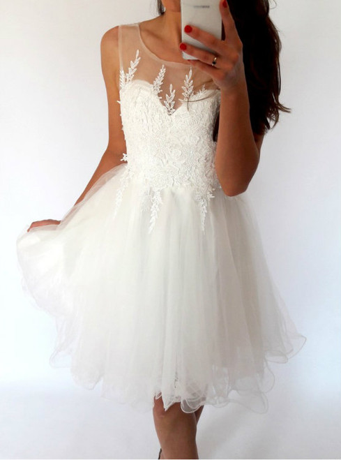 Stylish A-Line Bateau White Short Homecoming Dress with Appliques,Open Back
