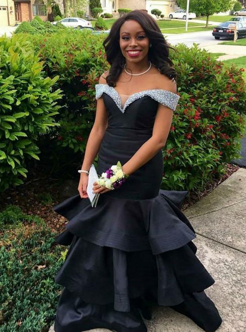 Black Mermaid Satin Off the Shoulder Beading Prom Dress 2020
