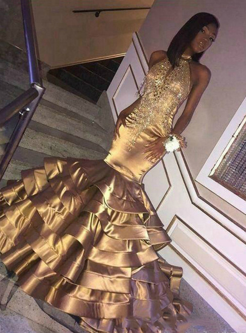 Sexy Gold Mermaid Satin Halter Beading Prom Dress 2020