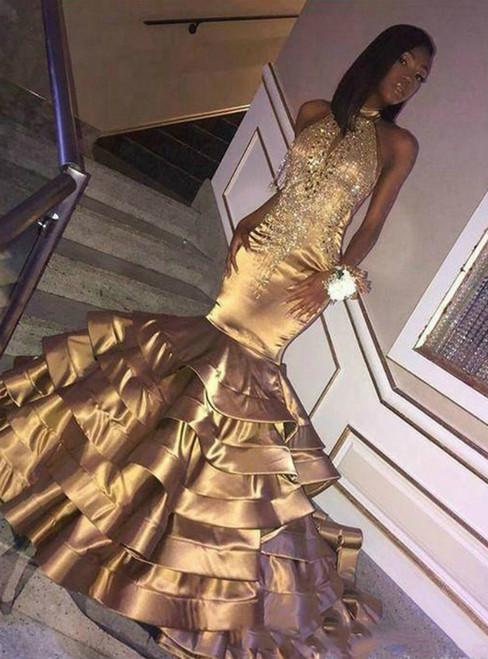 Sexy Gold Mermaid Satin Halter Beading Prom Dress 2020