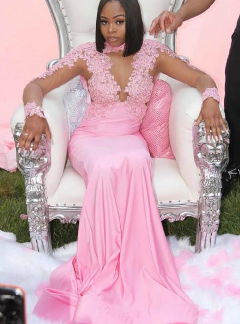 Pink Mermaid Satin Long Sleeve Appliques Beading Prom Dress