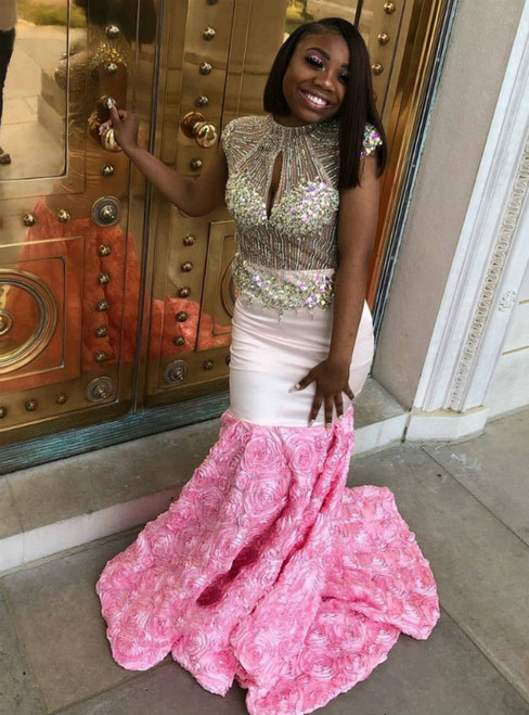 Pink Mermaid Satin Cap Sleeve Beading Crystal Prom Dress 2020