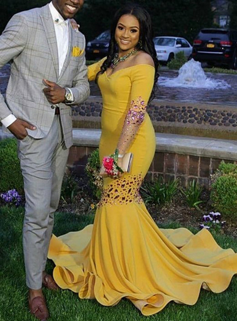 Yellow Mermaid Satin Off the Shoulder Long Sleeve Crystal Prom Dress 2020