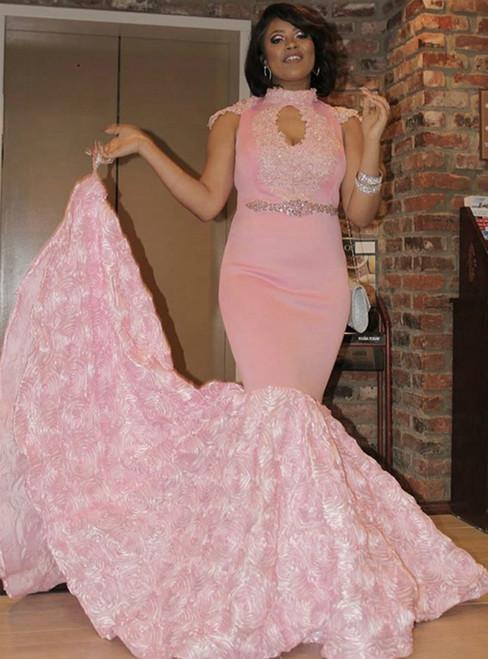 Pink Mermaid Satin Cap Sleeve High Neck Appliques Crystal Prom Dress 2020