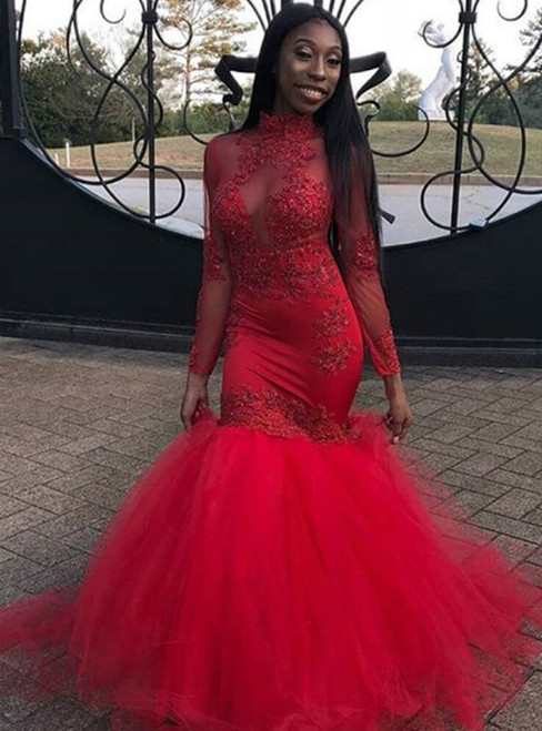 Red Mermaid Tulle Long Sleeve Appliques Prom Dress 2020