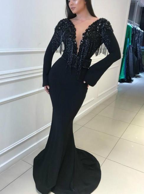 Black Mermaid Satin Long Sleeve Beading See Through V-neck Prom Dress 2020